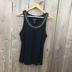 Lane Bryant Black Embellished Neckline Tank Top